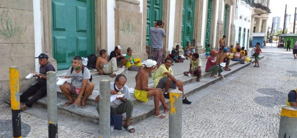 Hot meals for the homeless in downtown Recife