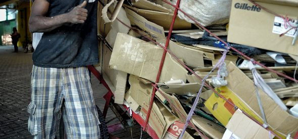 Jurandir collects and sells recyclable cardboard